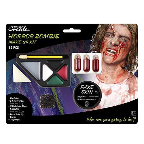 Adults Ladies Mens Horror Zombie Make Up Face Paint Kit Fake Skin Blood Halloween Fancy Dress Costume Outfit Accessory -