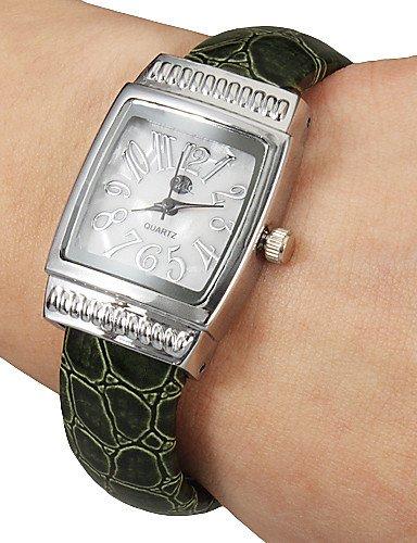 X & D Mujer Simple rectángulo Dial Craquelure aleación de grano pu banda de cuarzo reloj