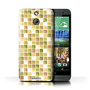 KOBALT? Protective Hard Back Phone Case / Cover for HTC One/1 E8 | Yellow/Brown Design | Bath Tile Pattern Collection by lolosakes
