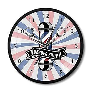 YJSMXYD Relojes de Pared Barbería Poste Cartel de Negocios ...