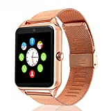 Beafup Bluetooth Smart Watch,SmartWatchTouch Screen Bluetooth WristWatch with SIM Card Slot and Camera for Android Phone, Samsung HTC Huawei Xiaomi, IOS (Partial Functions) (Rose Gold)