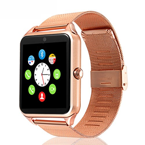 Beafup Bluetooth Smart Watch,SmartWatchTouch Screen Bluetooth WristWatch with SIM Card Slot and Camera for Android Phone, Samsung HTC Huawei Xiaomi, IOS (Partial Functions) (Rose Gold) by Beafup