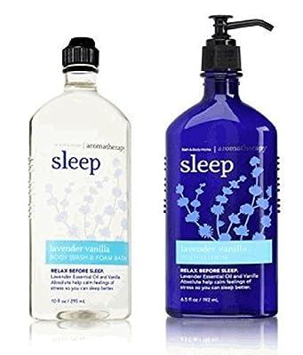 Bath and Body Works Aromatherapy Stress Relief Lavender Vanilla 10 Oz Body Wash & Foam Bath and 6.5 Oz Body Lotion Bundle (Lavender Vanilla)