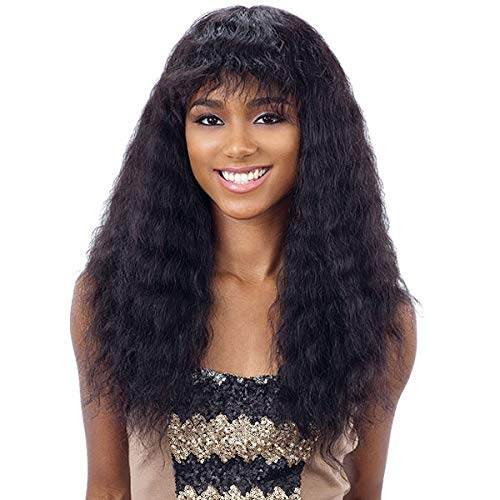 Naked Nature Unprocessed Remy Human Hair Wet & Wavy Wig - DEEP CURL WITH BANG