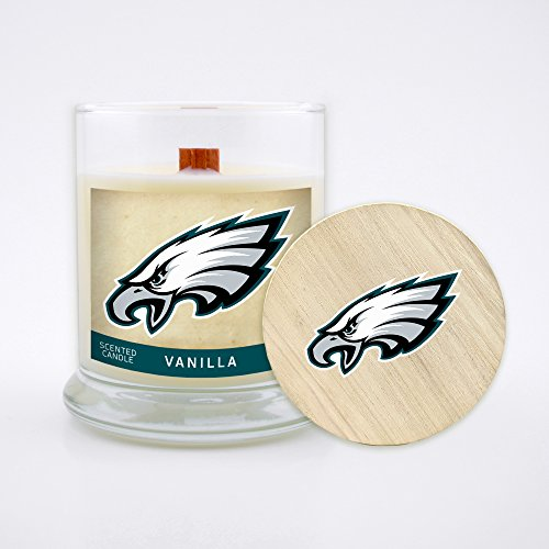 Nfl Candle - Worthy Promo (WORV3) NFL Philadelphia Eagles Vanilla Scented Candle, 8 oz, Clear