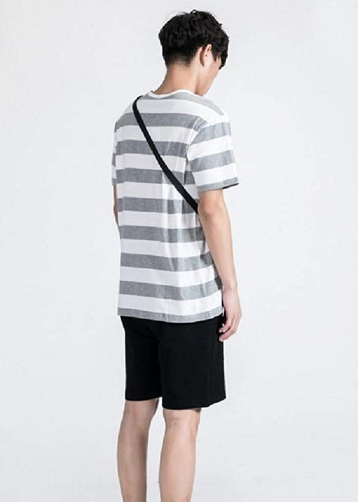Vska Men Short Sleeve Cotton Relaxed-Fit Striped Crew-Neck Polo T-Shirts