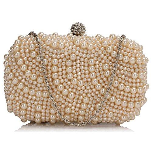 TrendStar - Bolso de mano para mujer, diseño con cuentas de cristal Beige - Nude