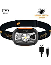 VAVOFO LED Headlamp Rechargeable USB Flashlight, Running Camping Reading Headlight, Headlamps with Redlight and Motion Sensor for Adults and Kids, Lightweight, Waterproof, Adjustable Headband (1)