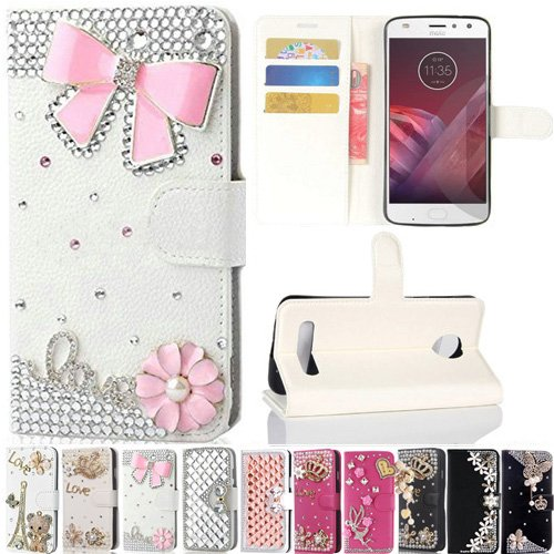 Motorola Moto Z2 Play Case, Best Share Manual Bling Flip Stand PU Leather Wallet Full Cover Silicone Case Card Slot for Motorola Moto Z2 Play, White-Pink ()