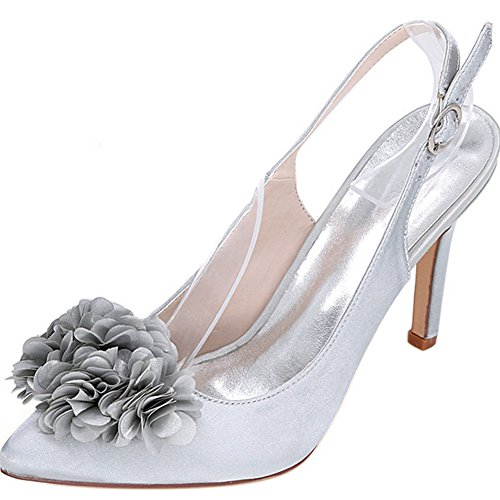 YAOYUE Women's Pointed Toe Pump 3D Flowers Sandals Wedding Slingback Dress Court Shoes Silver Kc85hKBY