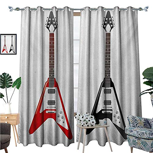 BlountDecor Guitar Patterned Drape for Glass Door Musical Instrument with V Shaped Design Famous Rock and Roll Strings Creativity Waterproof Window Curtain W108 x L84 Multicolor