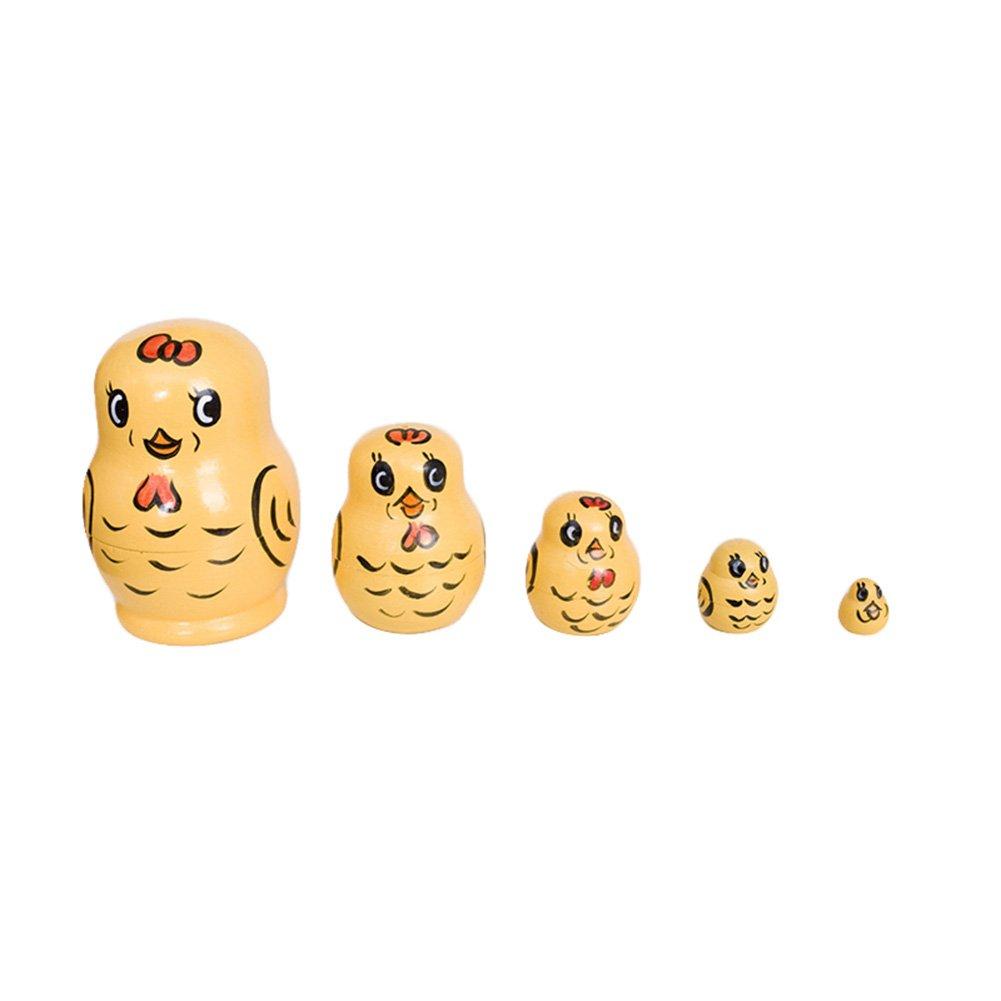 Wildlead Baby Spielzeug Matryoshka 5 Schicht Holz Tier Handgemalte Russische Verschachtelung Puppen Dekoration Kinder geschenke