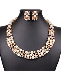 Broadfashion Bluelans Women's Party Wedding Jewellery Sets Elegant Rose Gold Plated Faux Pearl Crystal Collar Necklace Earrings Set