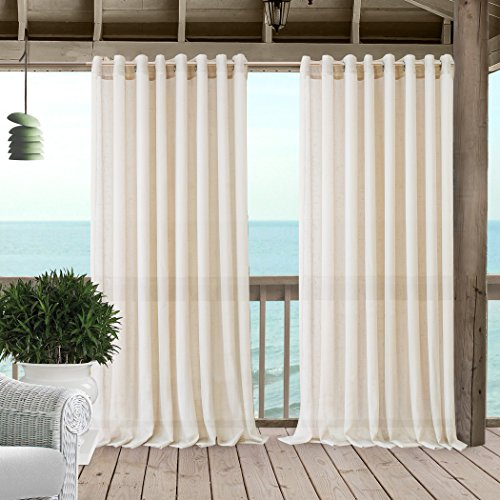 Elrene Home Fashions Carmen Extra Wide Indoor/Outdoor Sheer Grommet Window Curtain Panel, 114