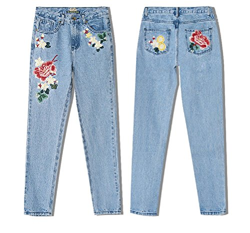 SITENG Womens Embroidery Jeans Light Blue Washed Denim Ripped Cotton Distressed Pants,6,Light Blue by SITENG (Image #3)