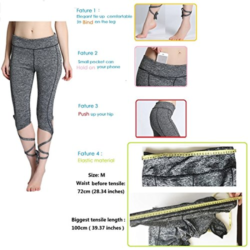 Klorify Belly Dance Pants Yoga Tights Tie up Leggings Strappy Dry Fit Workout Capris High Waist (Medium, Black)