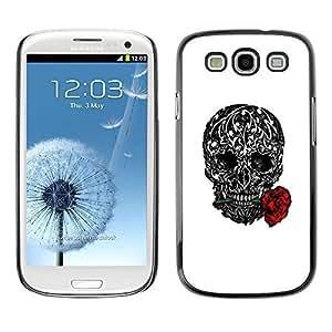 Colorful Printed Hard Protective Back Case Cover Shell Skin for SAMSUNG Galaxy S3 III / i9300 / i747 ( Love Rose Ink Tattoo Black White Metal ) Kimberly Kurzendoerfer