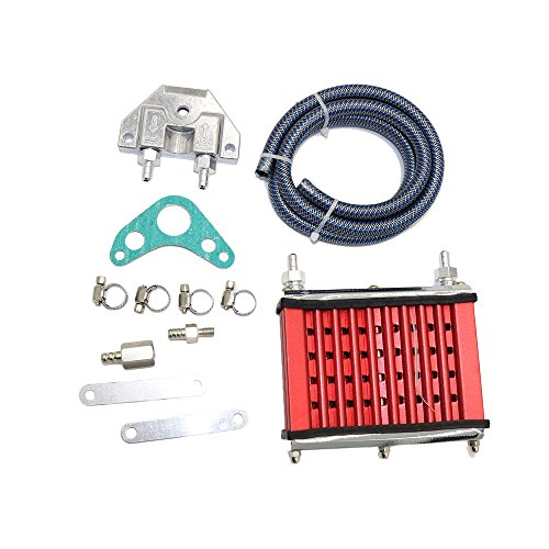 JINGKE Oil Cooler Mounting kit Universal For 50cc 70cc 90cc 110cc 125cc Dirt Pit Bike Cooling Radiator (red) (Best Oil For Pit Bike Engine)
