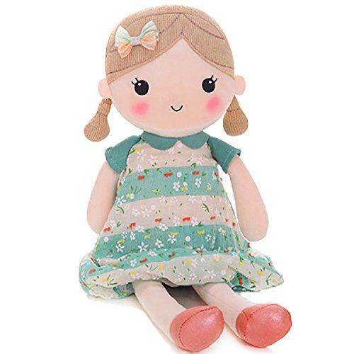 Gloveleya Spring Girl Wearing Floral Dress Baby Stuffed Cloth Dolls Kids Plush Toys 21'' (Green (L))