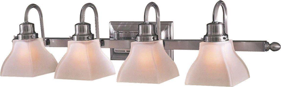 Minka Lavery Wall Light Fixtures 5584-84 Mission Ridge Reversible Glass Bath Vanity Lighting, 4 Light, 400 Watts, Nickel