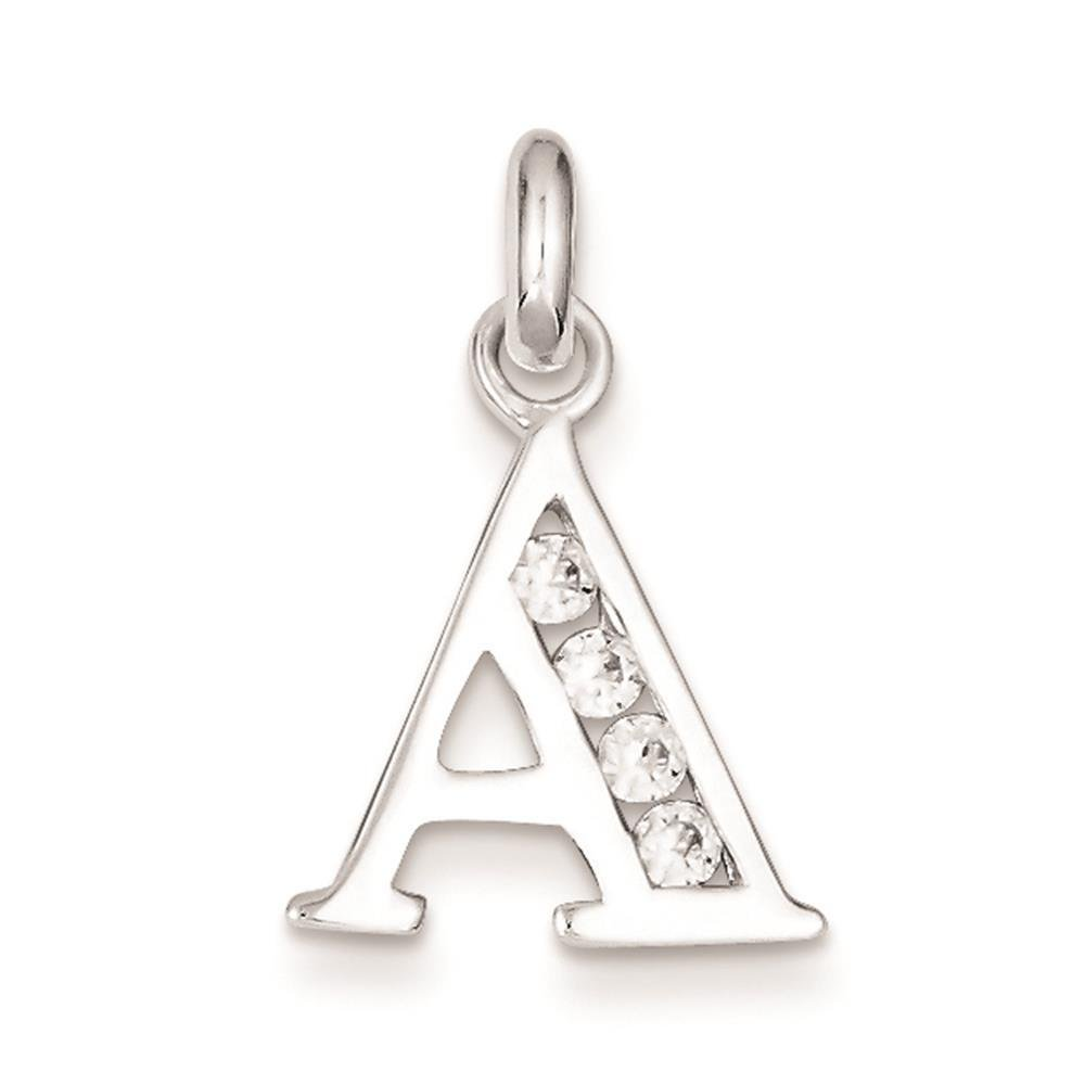925 Sterling Silver White CZ Initial Letter A PolishedCharm Pendant