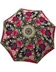 LA BELLA UMBRELLA Vintage Roses Designer Unique Travel Art Umbrella in Stylish Gift Box – Automatic/Manual/Stick