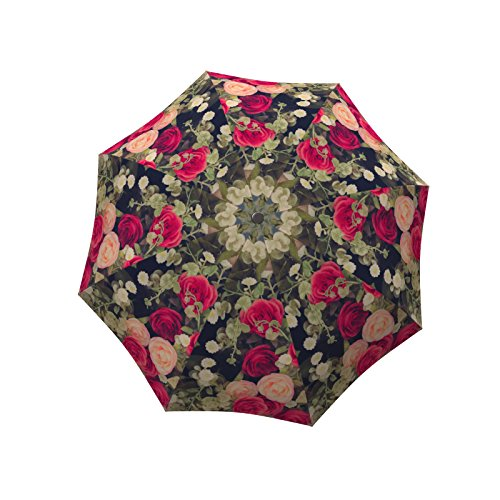 LA BELLA UMBRELLA Vintage Roses Designer Unique Art Travel Fashion Umbrella in Stylish Gift Box – Windproof Folding Automatic Open Close Belle Rose Purse
