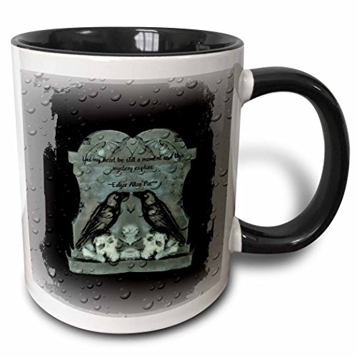 3dRose ET Photography - Halloween Designs - Two Ravens on tombstone with a quote from Poe - 15oz Two-Tone Black Mug (mug_162111_9) ()