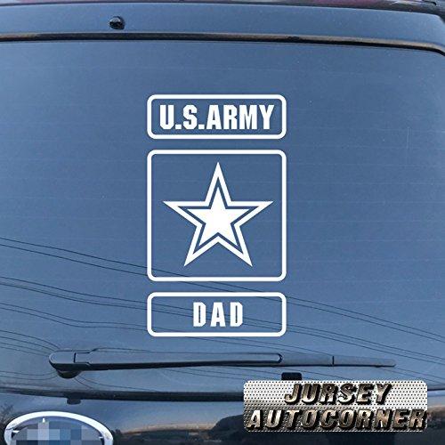 3S MOTORLINE US Army Star Proud Dad Decal Sticker Car Vinyl pick size color die cut no background (white, 6'' (15.2cm)) ()