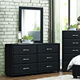 Homelegance Lorenzi 6 Drawer Dresser & Mirror in Black Vinyl - (Dresser Only)