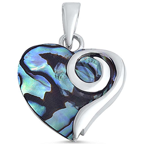 Oxford Diamond Co Simulated Gemstone Heart .925 Sterling Silver Pendant Three Colors Available (Simulated Abalone Shell)