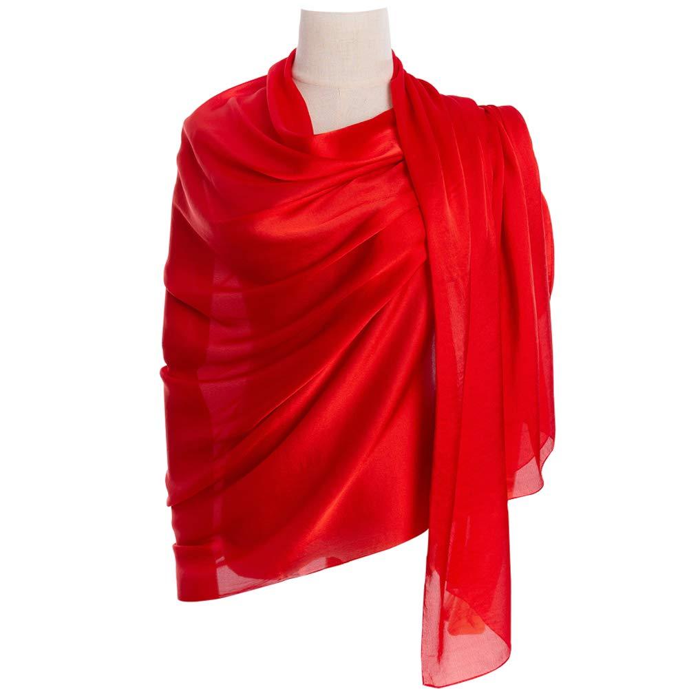 Red Cyzlann Women's Scarves 100% Silk Long Lightweight Scarfs for women