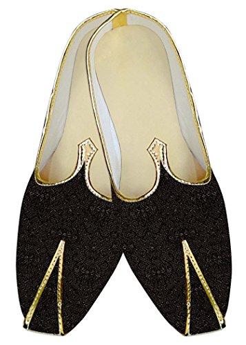 INMONARCH Poliéster Negro Hombres Boda Zapatos Self Diseño MJ09618