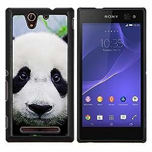 LECELL--Funda protectora / Cubierta / Piel For Sony Xperia C3 -- Plush Furry Panda Eyes japoneses lindos Sad --