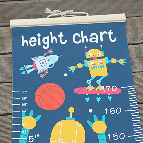 Panda_mall Baby Height Growth Chart Ruler Kids Roll-up Canvas Height Chart Removable Wall Hanging Measurement Chart Wall Decoration with Wood Frame for Boys Girls Kids Room(Robot) by Panda_mall (Image #4)