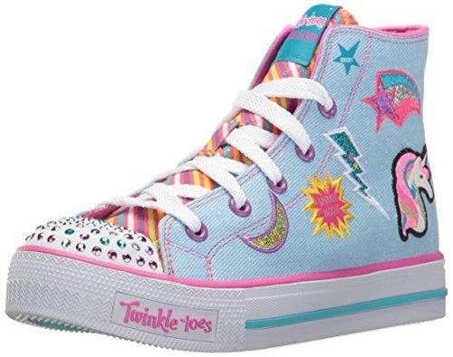Skechers Kids Girls' Shuffles-Twist N'Turns Sneaker, Denim/Multi, 12.5 M US Little Kid