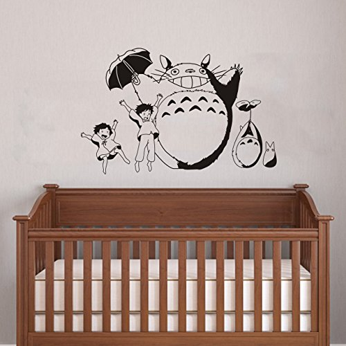 Cheer Totoro And Girls Wall Art Baby Nursery Room Wall Sticker 90cmx60cm  Removable Vinyl Anime Totoro Silhouette Mural (gray): Amazon.co.uk: Kitchen  U0026 Home