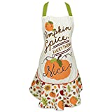 DII Cotton Halloween Kitchen Apron with Pocket and Extra Long Ties, 28.5 x 26, Fashion Women Ruffle Apron for Holidays, Hostee and Housewarming Gift-Pumpkin Spice