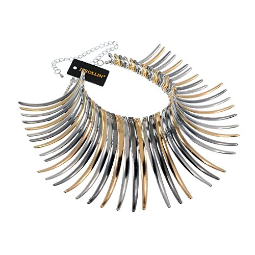 (Statement Collar Choker Chuncky Bib Necklace(Set), African Sparkling Canine Shape Fringe Necklace(Set) for Women Fashion Jewelry(Set) for Girls)