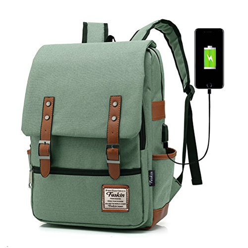 Professional Laptop Backpack with USB Charging Port, Feskin Fashion Travel Bag Vintage Business Work Computer Rucksack College School Casual Daypack for Women Men Girls - Green