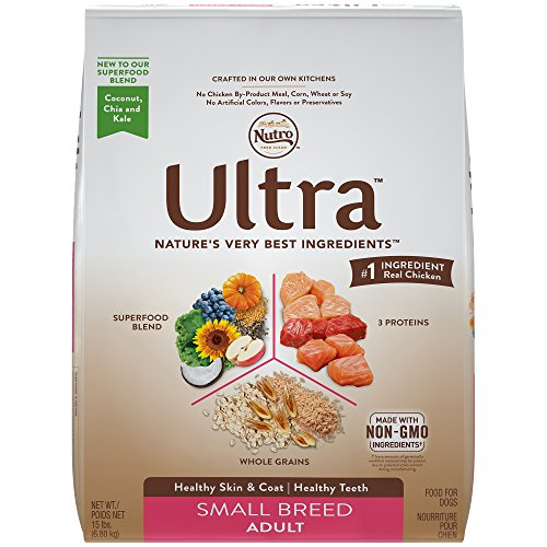 NUTRO ULTRA Small Breed Adult Dry Dog Food  (1) 15-lb. bag; #1 Ingredient Real Chicken, Rich in Nutrients and Full of (Big Bites Food)