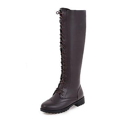 VogueZone009 Damen Hoch-Spitze Weiches Material Rund Zehe Stiefel mit Anhänger, Weiß, 37