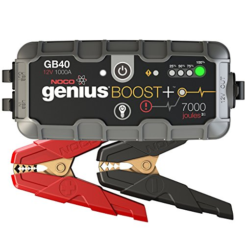 The GB40 is an ultra-portable, lightweight and compact lithium-ion jump starter for 12-volt batteries. With it, you can safely jump start a dead battery in seconds - up to 20 times on a single charge. It's mistake-proof, making it safe for anyone to use and features spark-proof technology, as well as reverse polarity protection. The GB40 lithium jump starter integrates with a high-output 100 lumen LED flashlight with seven light modes, holds its charge for up to one year and features a USB battery pack for recharging personal devices on the go - up to 4 smartphone recharges. It's rated at 1,000 Amps (7,000 Joules3S), and suitable for use on gasoline engines up to 6 Liters and up to 3 Liter diesel engines, such as a car, van, boat, SUV, truck and more. Includes the GB40, needle-nose battery clamps, USB charging cable, microfiber storage bag, our 1-year hassle-free limited warranty, and free lifetime customer support Other commonly used search terms include: jump starter, jumper cables, car jump starter, battery jumper, car starter, car battery jump starter, car jumper, jump pack, car jump, jump starter power bank, battery booster, battery jump, jumper pack, jumper battery, battery jump pack, portable jump starter, jumpstart, jumper starter, battery jump box, jump starters, genius boost, booster pack, portable car battery jump starter, jump starter pack, jumper box portable power,jumper box, jump starter kit, jump battery, noco genius boost, lithium jump starter, jumper starter diesel, diesel jump starter, and battery jump starter.