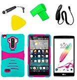 Hybrid Cover Case Cell Phone Accessory + Car Charger + Screen Protector + Extreme Band + Stylus Pen + Pry Tool For LG G Stylo LS770 / LG G4 Stylus H631 / LG G Stylo MS631 (S-Hybrid Teal Pink) -  ExtremeCases