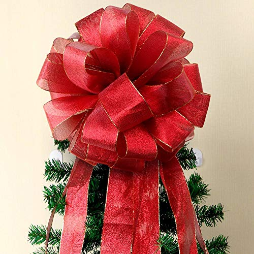 (Aytai Christmas Tree Topper Bow Large Red Christmas Bows with Streamer Gold Edge, DIY Red Velvet Ribbon for Christmas Tree Decoration)
