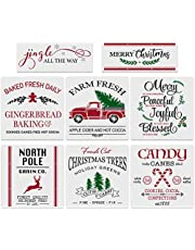 8Pcs Christmas Stencils-12x12 Inches Reusable Merry Christmas Stencils Including Candy Cane/Christmas Tree/Gingerbread/Reindeer/Jingle All The Way, Make Your Own Farmhouse Christmas Wood Signs