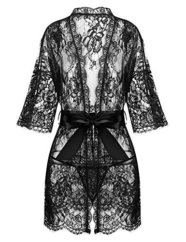 Avrilove Women's Kimono Eyelash Lace Robe Babydoll Lingerie Mesh Chemise Nightdress Nightgown (Black, L) ()