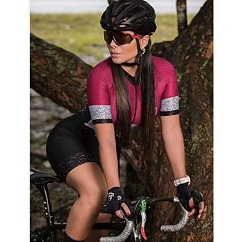 Dames Triathlon korte mouw fietskleding fietsets $1456 (Color : Women skinsuit089, Size : XX-Large)