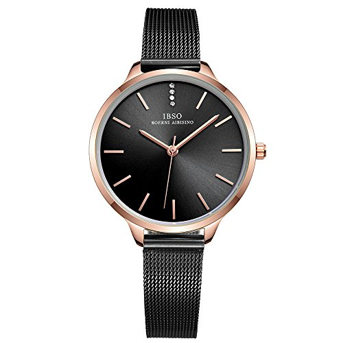 (IBSO Female Watches Leather Strap Round Case Analog Fashion Women Watch on Sale (6603-Black-SS))