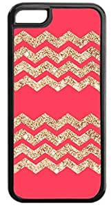 Coral 2 Set Glitter-Look Chevrons- Case for the APPLE IPHONE 5C ONLY-Hard Black Plastic Outer Case with Tough Black Rubber Lining